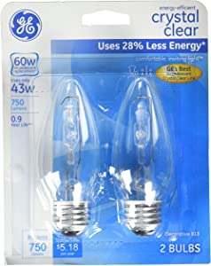 GE Lighting 60271 Energy-Efficient Crystal Clear 43-watt 750-Lumen B13 Light Bulb with Medium Base, 2-Pack