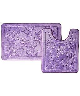 Maiija Non-Slip Embossed Memory Foam Contour Bathmat Set (20x24+20x23)_Flower (Teal Blue)