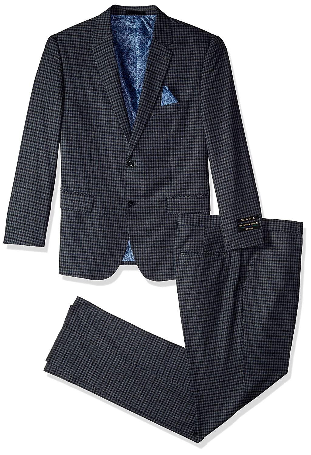 Alexander Julian Colours Men's Big and Tall Single Breasted Modern Fit Check Suit Alexander Julian Child Code 17891-01