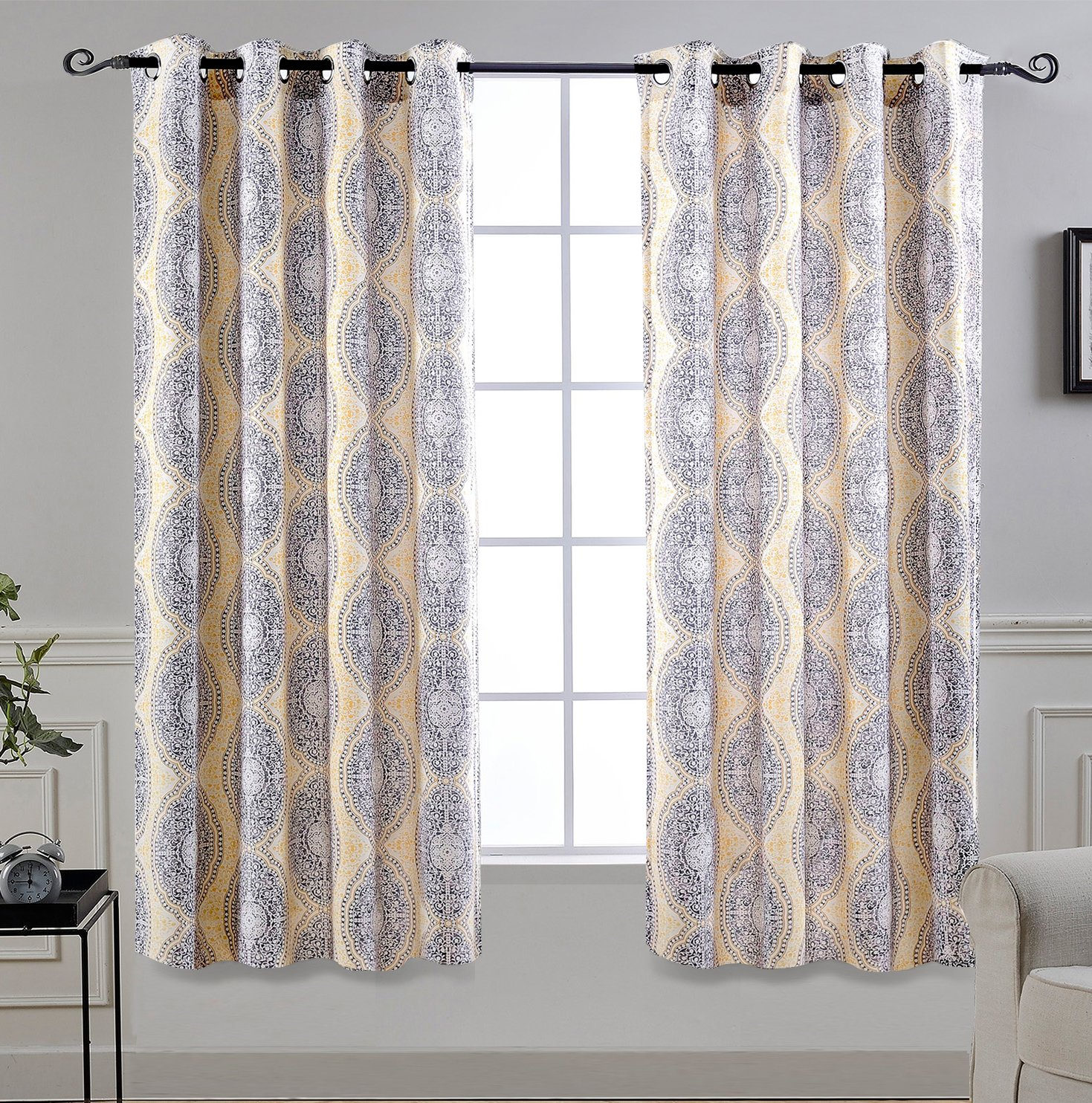 DriftAway Adrianne Thermal and Room Darkening Grommet Unlined Window Curtains Set of 2 Panels Each 52 Inch by 63 Inch Yellow and Gray
