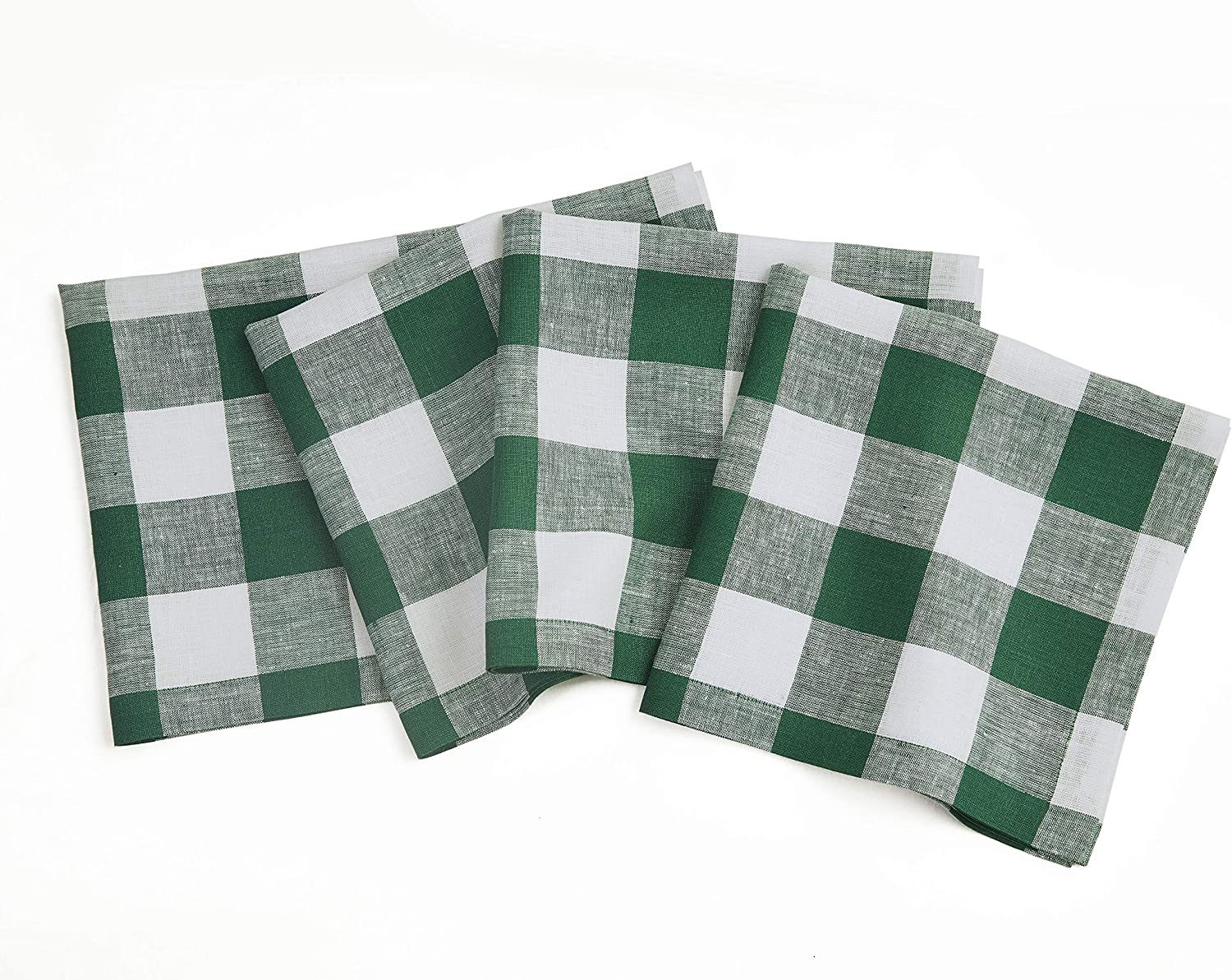 Solino Home 100% Pure Linen Buffalo Check Dinner Napkin – Green & White Check Napkins Set of 4, 20 x 20 Inch – Handcrafted with Mitered Corners