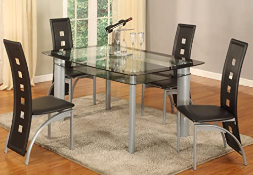 GTU Furniture 5Pc Glass Dining Room Table Set, 1 Table and 4 Chairs Black Tinted Edge, Black
