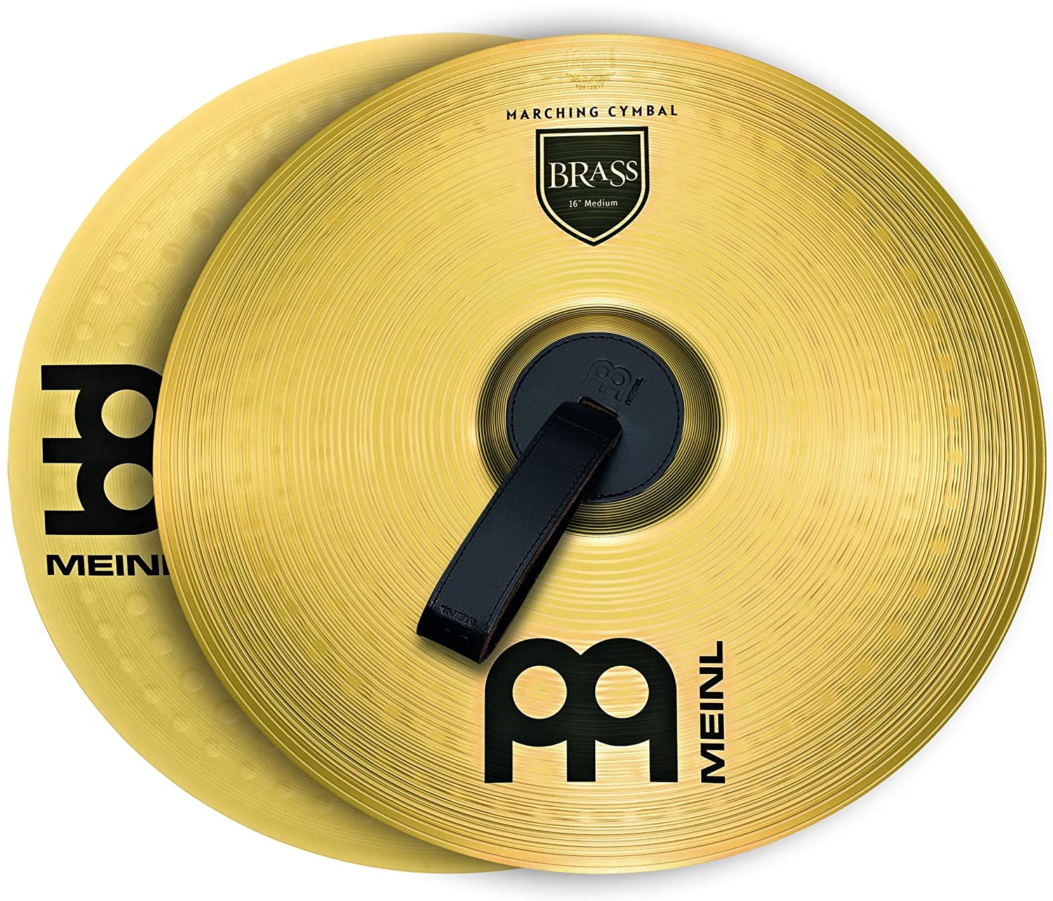 Meinl Cymbals MA-BR-18M Brass Marching Cymbal Pair with Straps, Traditional Meinl USA L.C.