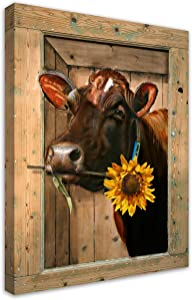 Rustic Wall Decor Farm Cow Hold Sunflowers Canvas Wall Art Paintings Contemporary Art Decor For Living Room Farmhouse 16x20Inch Animal Picture Cow Wall Art Framed Ready To Hang