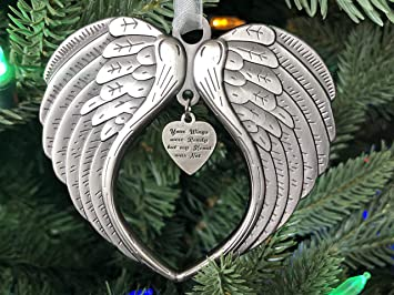 Amazon Com Christmas Ornaments Your Wings Were Ready But My Heart Was Not Ornament For Christmas Tree Double Sided Angel Wing Memorial Ornament For Loss Of Loved One Luxurious Silk Ribbon