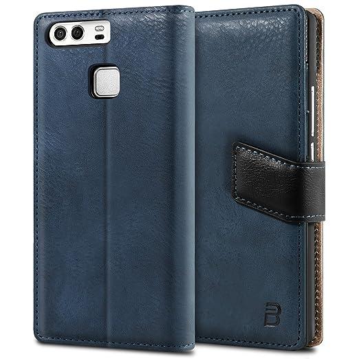 8 opinioni per Cover Huawei P9, BEZ® Cover protettiva portafoglio in pelle con porta carta di