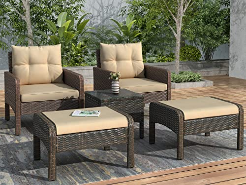 Merax 5-Piece PE Rattan Wicker Outdoor Patio Furniture Set