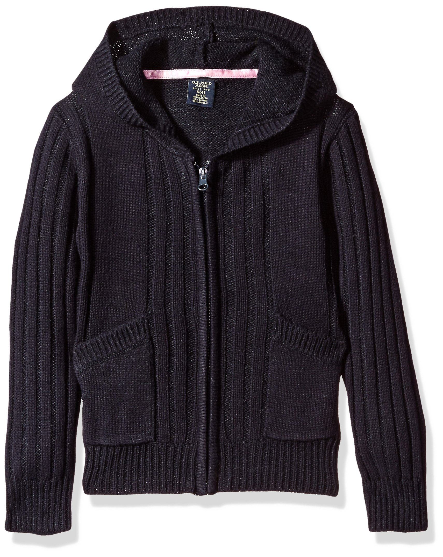 U.S. Polo Assn. Big Girls' Sweater (More Styles Available), Navy-ahah, 7/8