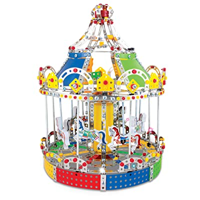 IQ Toys Carousel Merry Go Around Building Model with Metal Beams and Screws Lights & Music 1423 pcs: Toys & Games