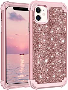 Lontect Compatible iPhone 11 Case Glitter Sparkle Bling Heavy Duty Hybrid Sturdy High Impact Shockproof Protective Cover Case for Apple iPhone 11 6.1 2019, Shiny Rose Gold