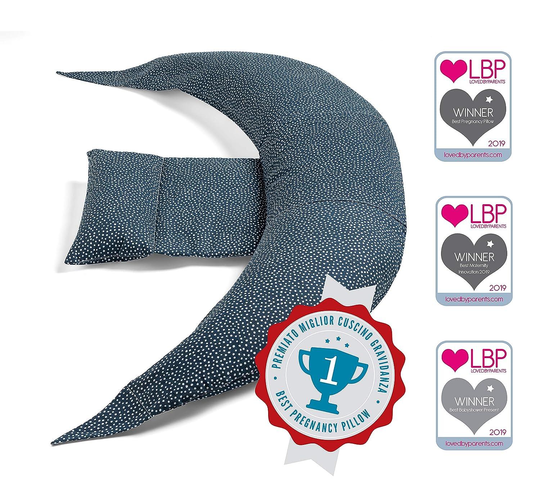 Nuvita 7100 DreamWizard Cojin Lactancia & Almohada Embarazo - 12 en 1 con Soporte Lumbar Ajustable - Funda 100% Algodon Desenfundable y Lavable - Con ...