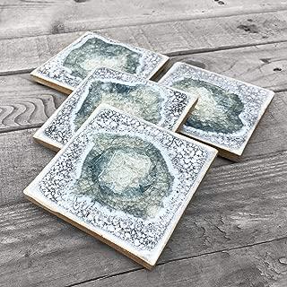 product image for Geode Crackle Coaster Set of 4 in Ash, Geode Coaster, Crackle Coaster, Fused Glass Coaster, Crackle Glass Coaster, Agate Coaster, Ceramic Coaster, Dock 6 Pottery Coaster
