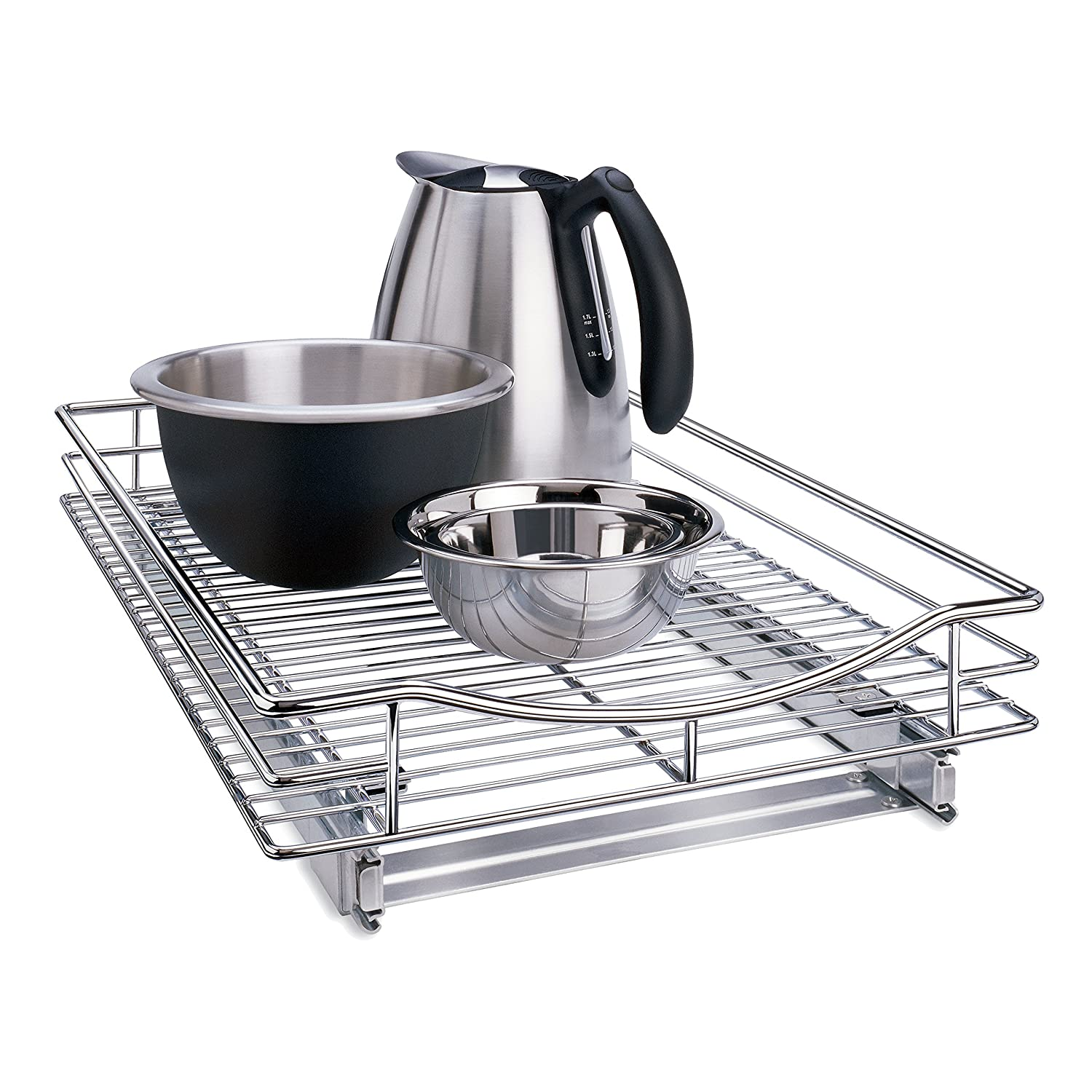"Lynk Professional Organizer with Pull Out Under Out Under Cabinet Sliding Shelf 14"" W x 18"" D x 4"" H Chrome"