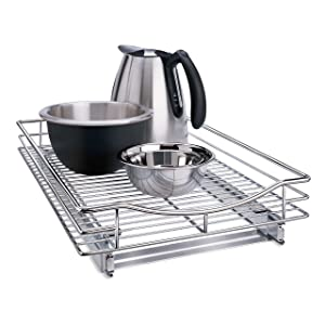 """Lynk Professional Organizer with Pull Out Under Out Under Cabinet Sliding Shelf 14"""" W x 18"""" D x 4"""" H Chrome"""