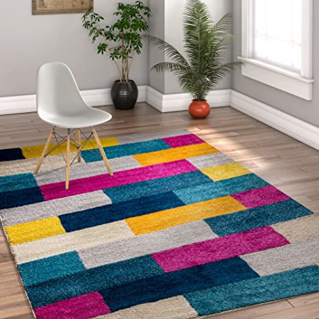 Well Woven High Line Bright Squares Fuchsia Purple Blue Yellow Orange Modern Geometric Tile Boxes Lines 8x10 7 10 X 9 10 Area Rug Home Kitchen