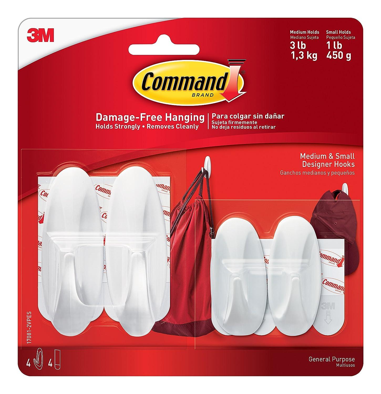 Command Designer Hooks, White, 2-Small, 2-Medium (17081-2VPES) 3M Command