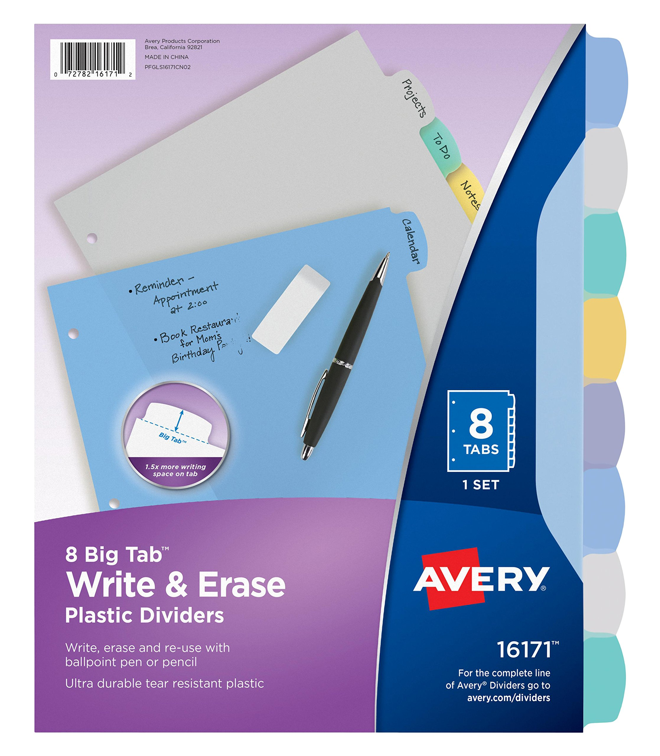 Avery Big Tab Write & Erase Durable Plastic Dividers, 8 Multicolor Tabs, Case Pack of 24 (16171)