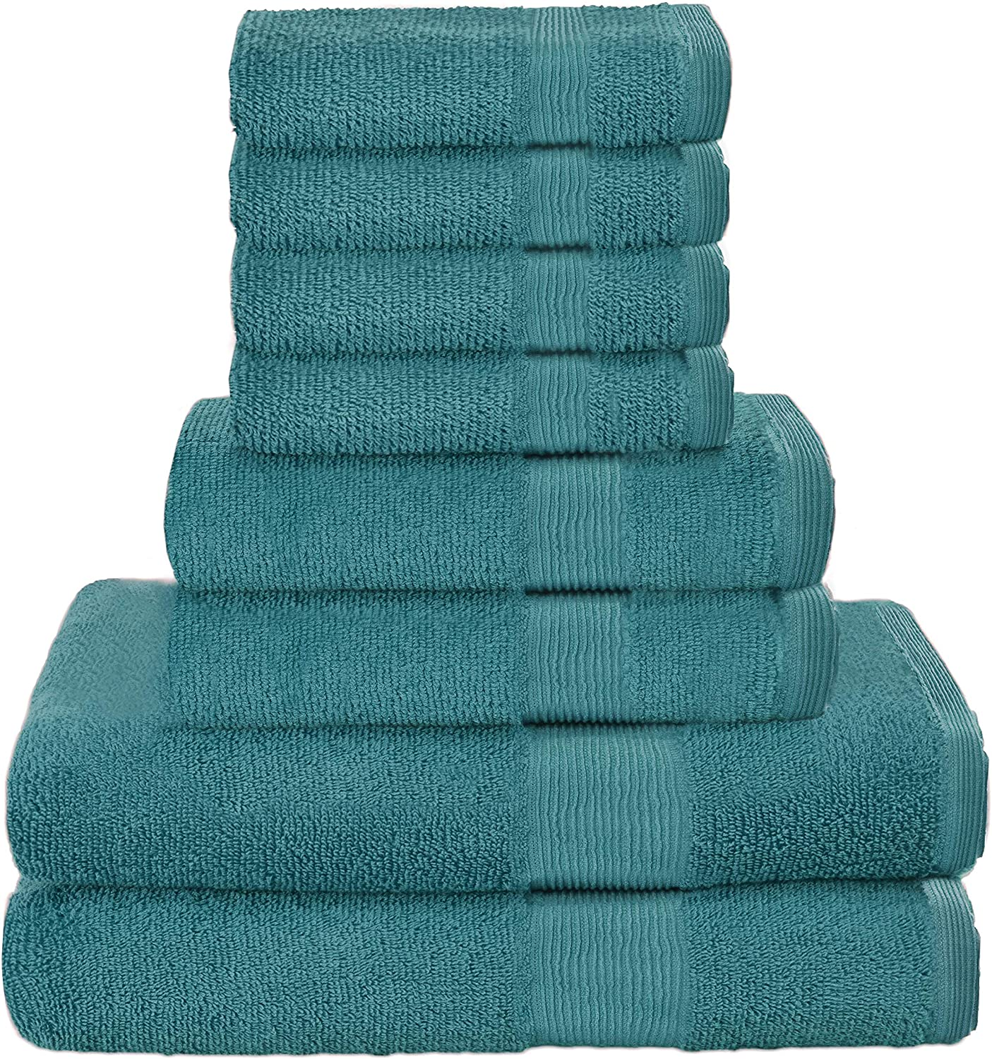 Elvana Home 8 Piece Towel Set 100% Ring Spun Cotton, 2 Bath Towels 27x54, 2 Hand Towels 16x28 and 4 Washcloths 13x13 - Ultra Soft Highly Absorbent Machine Washable Hotel Spa Quality - Teal