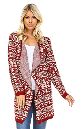 a03cfbac01 Zoozie LA Women Cardigan Boyfriend Sweater Burgundy Striped Aztec Tribal  Red Small   Medium