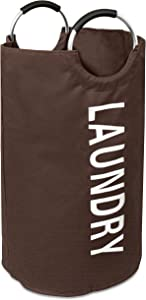 BIRDROCK HOME Round Oxford Laundry Bag - Clothes Storage - Laundry Bin - College Student - Foldable - Brown