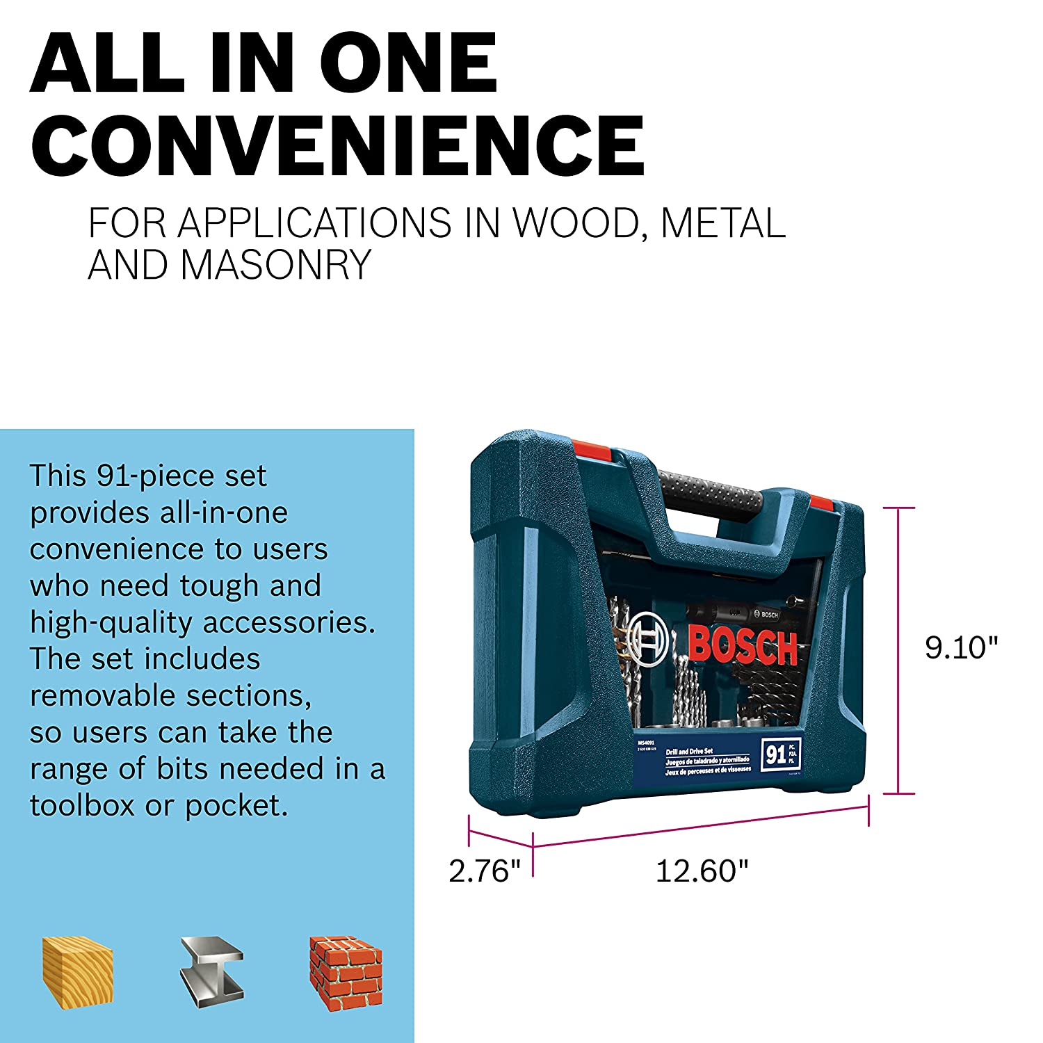 Bosch 91-Piece Drilling and Driving Mixed Set MS4091 - - Amazon.com