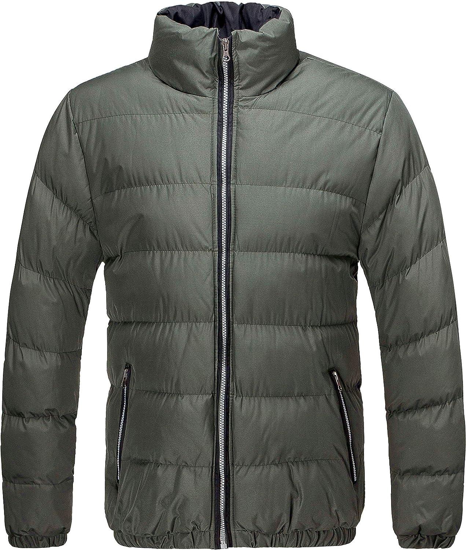 Short Classic Puffer Water Resistant U2Wear Mens Heavy Quilt Coat Bomber Jacket Winter Casual Jacket