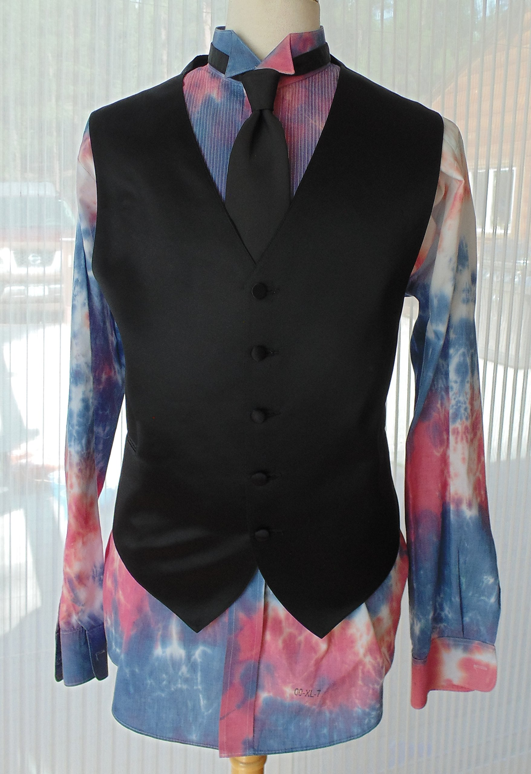 Men's XL 36-37 Hand Tie Dye Tuxedo Shirt in Shades of Red, White, and Blue groom