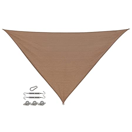 Coolaroo California Sun Shade, Triangle Shade Sail with Installation Kit, HDPE Fabric with 85 UV Block, 12 X 12 X 12 , Walnut