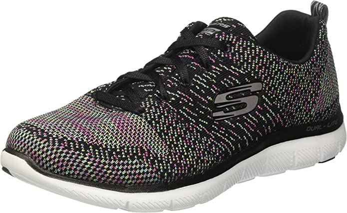 Skechers Flex Appeal 2.0 High Energy Sneakers Damen Schwarz/Weiß/Multicolor