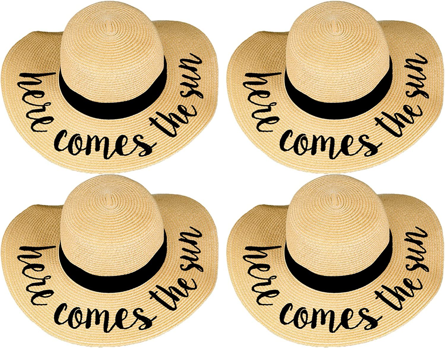 Funky Junque Womens Friends /& Family Vacation Embroidered Floppy Beach Sun Hat Bundle