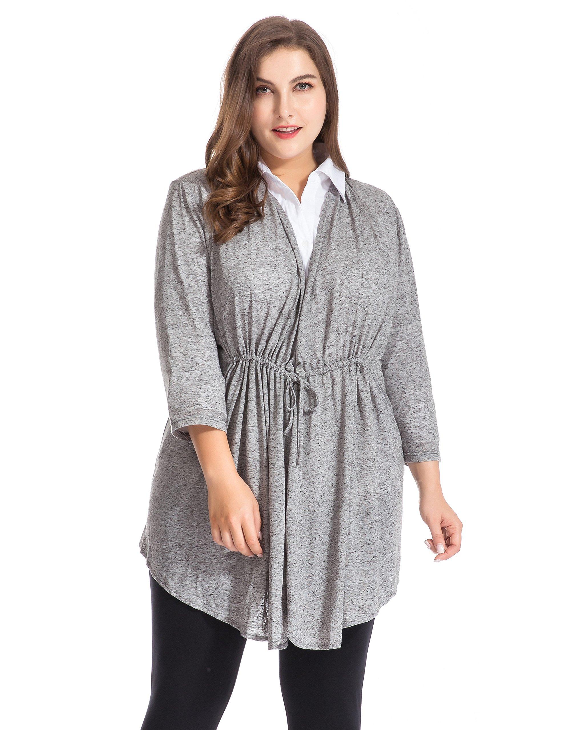Chicwe Women's Plus Size Linen Jersey Bellini Cardigan Style Top 1X