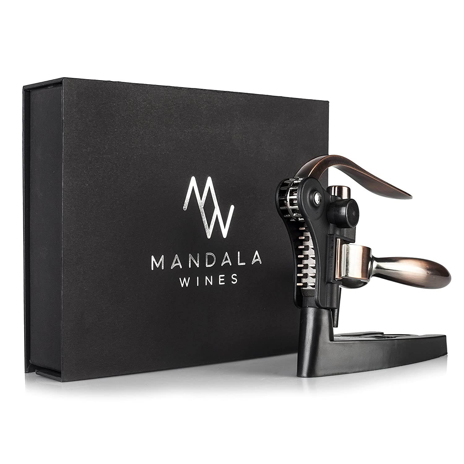 Rabbit Wine Bottle Opener Set: Bronze Metal Manual Wine Opening Accessories Tool Kit for Red, White or Rose Bottles with Elegant Portable Rabbit Opener, Black Foil Cutter, Spiral Corkscrew and Stand