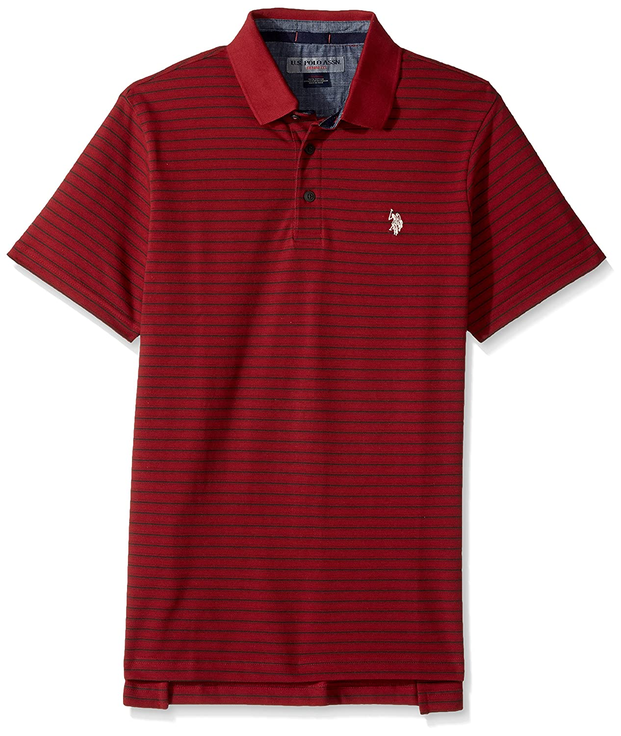U.S. Polo Assn. Mens Standard Classic Fit Striped Short Sleeve Pique Polo Shirt