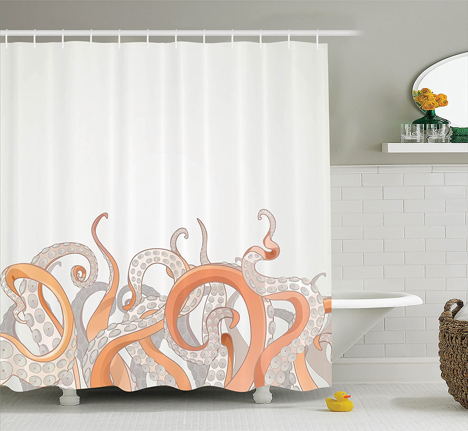 Octopus Tentacles Background Underwater Marine Nature And Sea Creatures Nautical Decor Polyester Fabric Bathroom Shower Curtain Set With Hooks