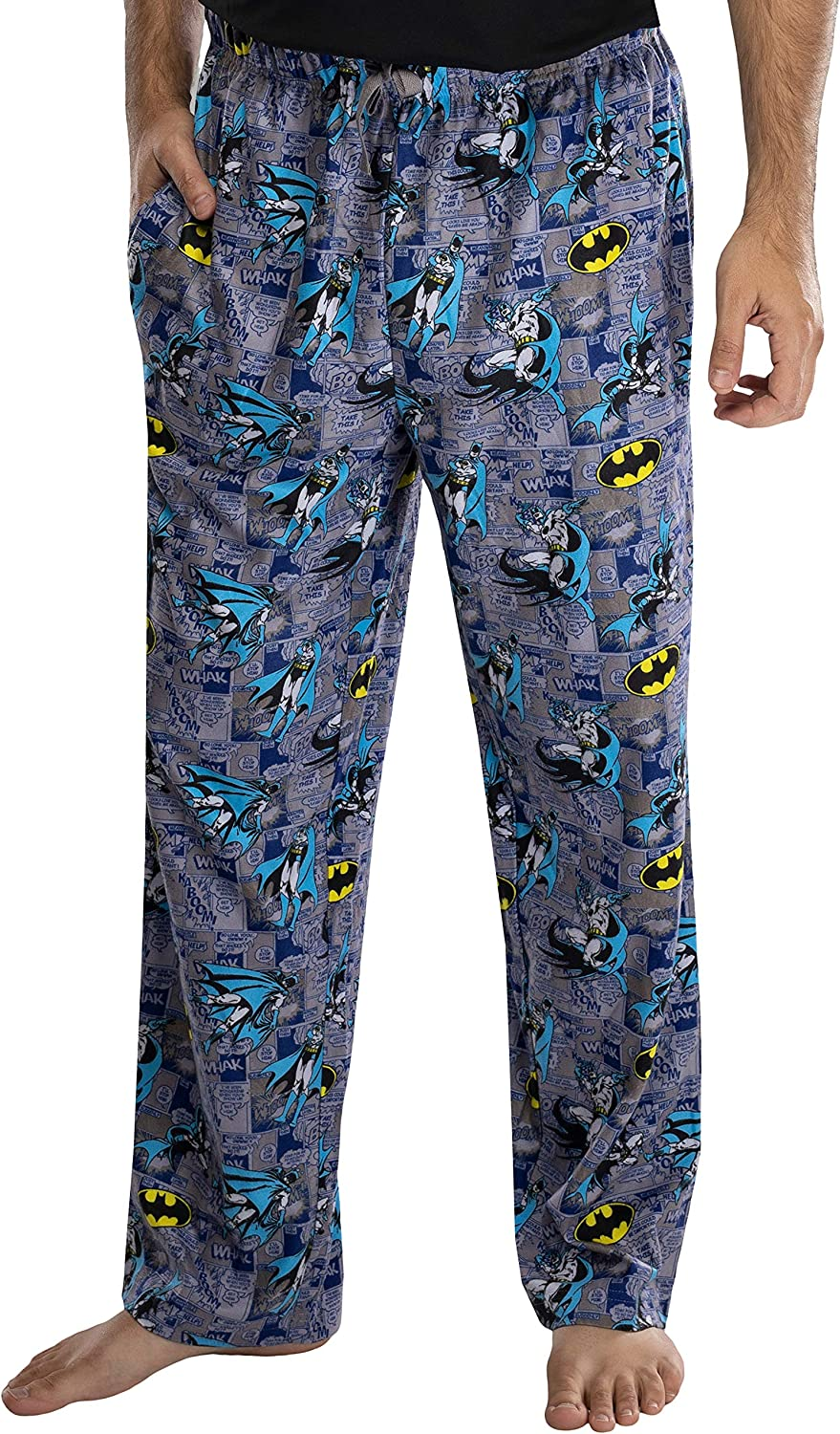 DC Comics Adult Classic Batman Comic Allover Print Loungewear Pajama Pants for Men