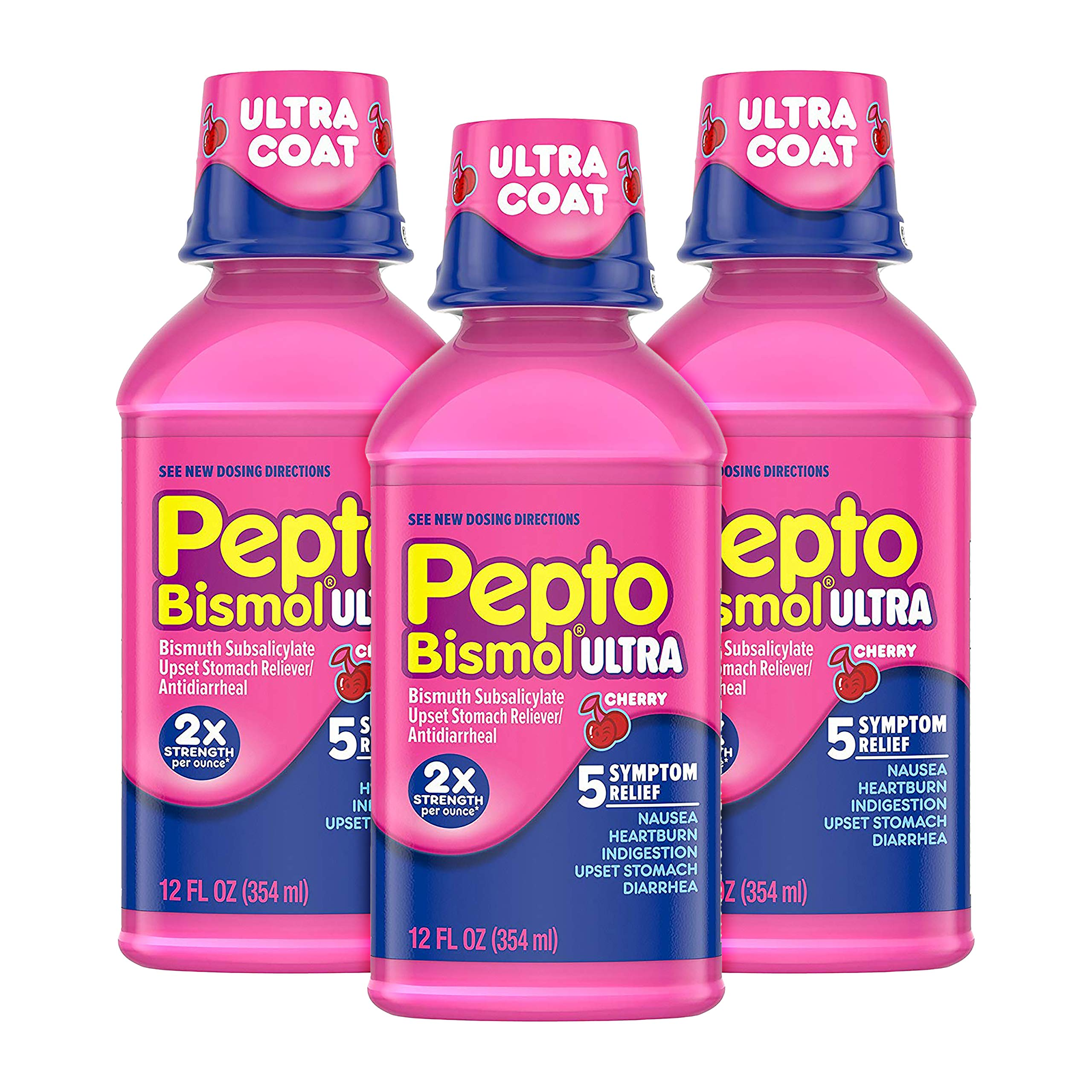 Pepto Bismol Liquid Ultra for Nausea, Heartburn, Indigestion, Upset Stomach, and Diarrhea Relief, Cherry Flavor 12 oz (Pack of 3)