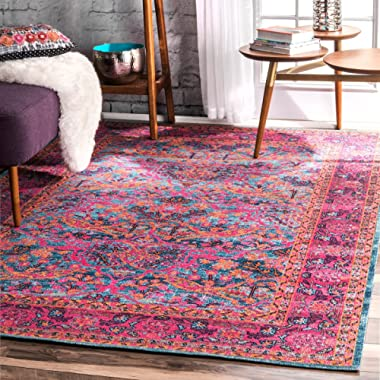 nuLOOM RZSW05A Persian Floral Area Rug, 5' x 7' 5 , Pink