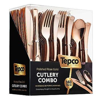 Silverware - Juego de cubiertos desechables de plástico y oro rosa, 80 tenedores de plástico, 40 cucharas de plástico, 40 cuchillos de plástico resistentes, ...