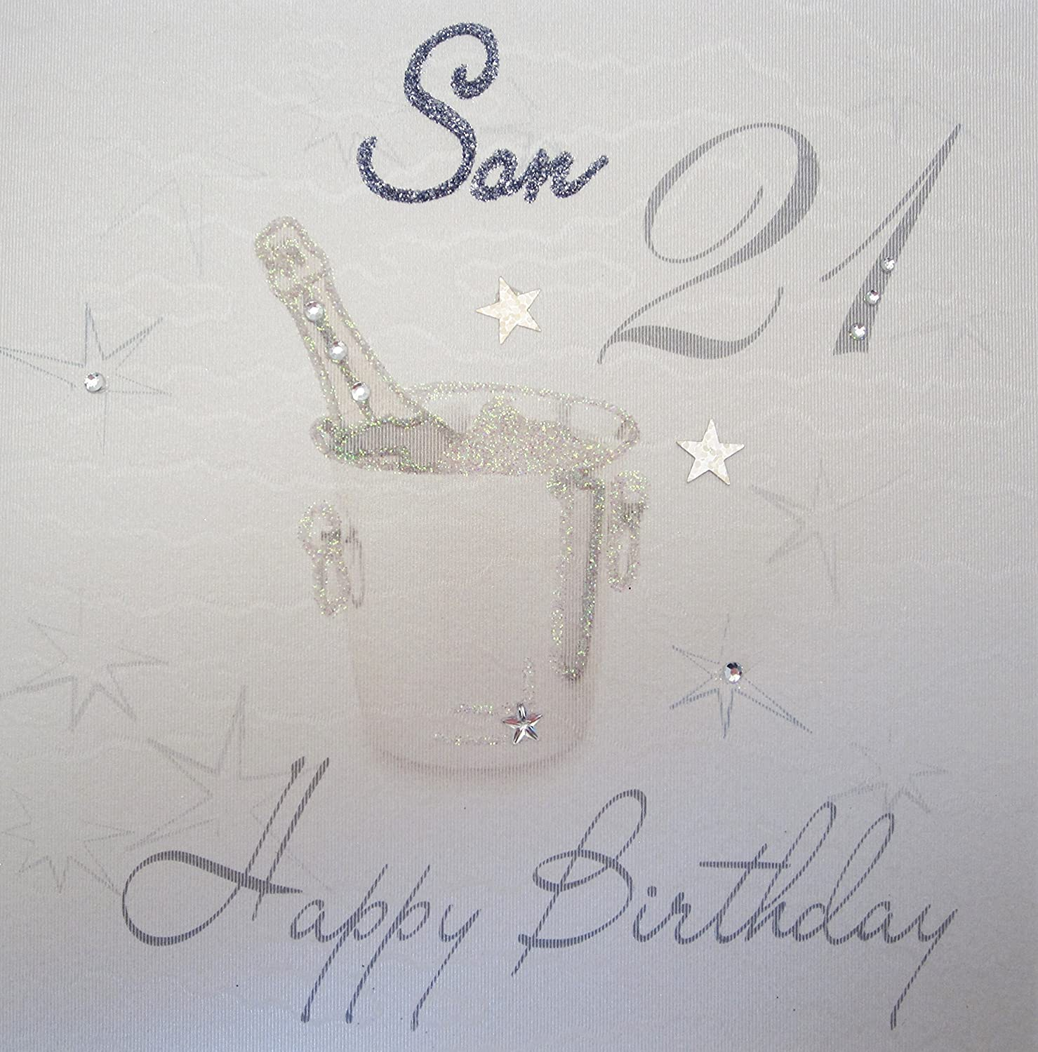 """white cotton cards WBS21 SON """"Champagne Bucket Glittered Son 21"""