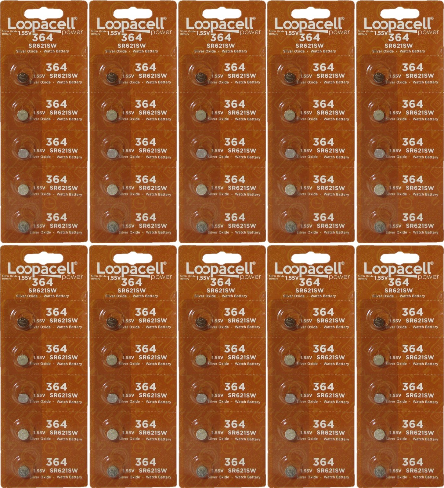 LOOPACELL Watch Batteries 364/363 SR621SW Battery New 50 Pack