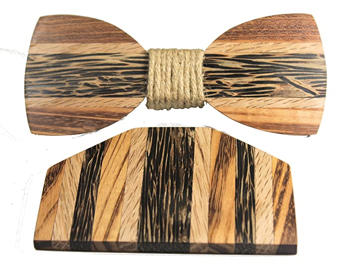 Attractive Solid Multi Exotic Woods Bow Tie And Pocket Square Set W/ Gift/Storage Box