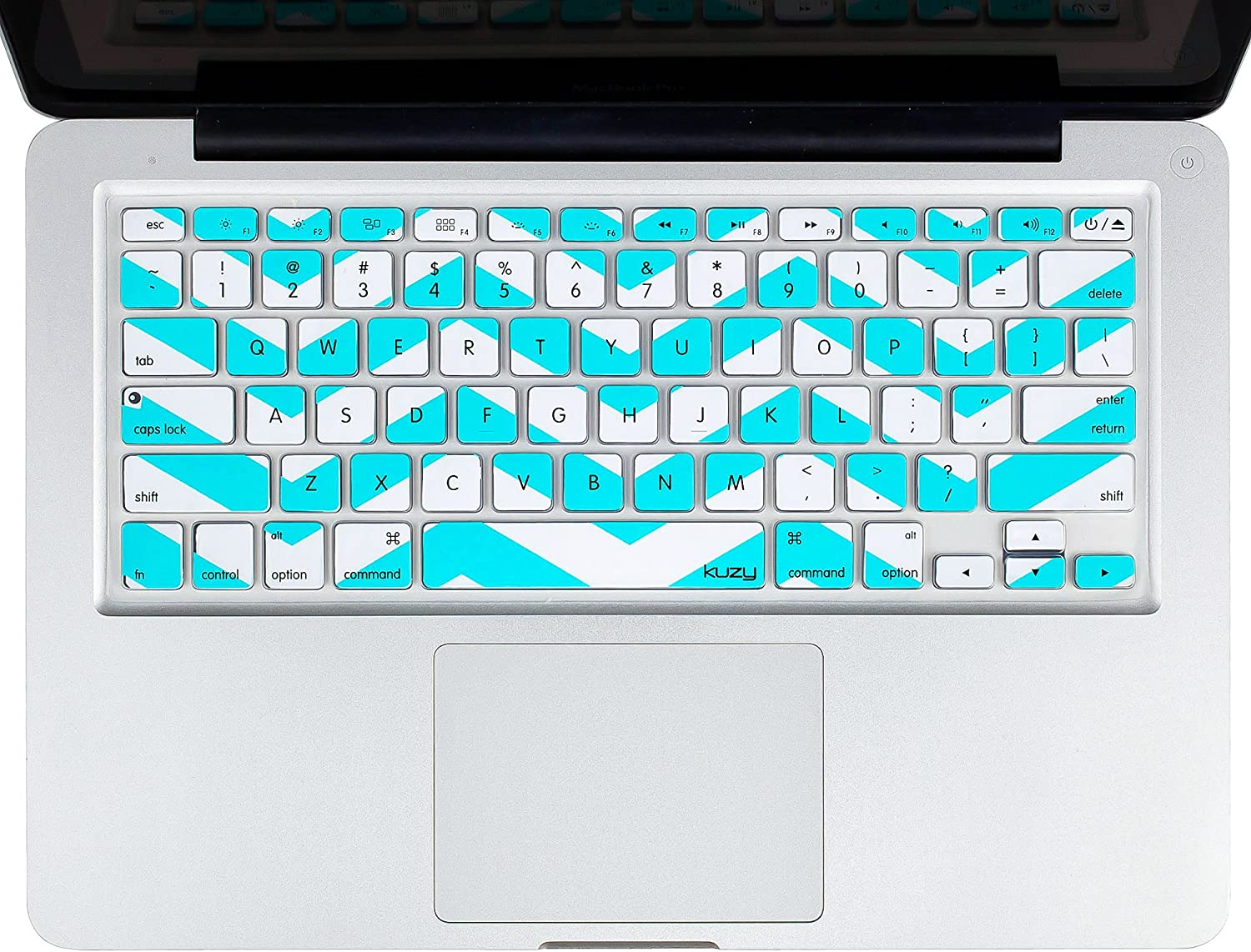 Kuzy - MacBook Keyboard Cover for Older Version MacBook Pro 13 15 17 inch and MacBook Air 13 inch, iMac Wireless Keyboard, Apple Computer Accessories Key Board Silicone Skin Protector - Chevron Teal