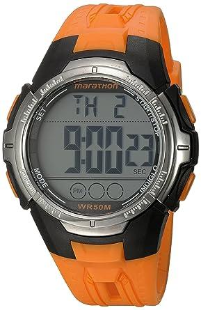 6ba1e5e73 Marathon by Timex Men s TW5M06800 Digital Full-Size Orange Black Resin  Strap Watch