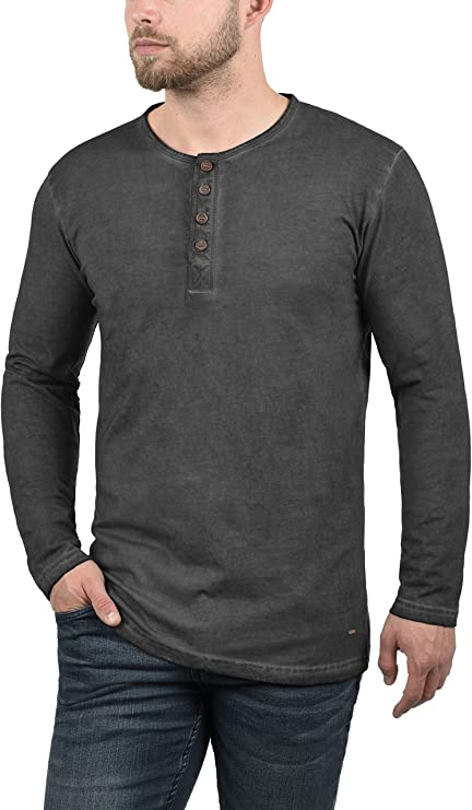 !Solid Timur Camiseta Básica De Manga Larga Longsleeve para Hombre con Cuello Grandad De 100% algodón