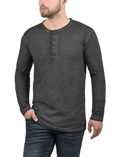 !Solid Tharan Camiseta Básica De Manga Larga Longsleeve para Hombre con Cuello Redondo con Bolsillo En El Pecho De 100% Algodón pp8T6ZozQ