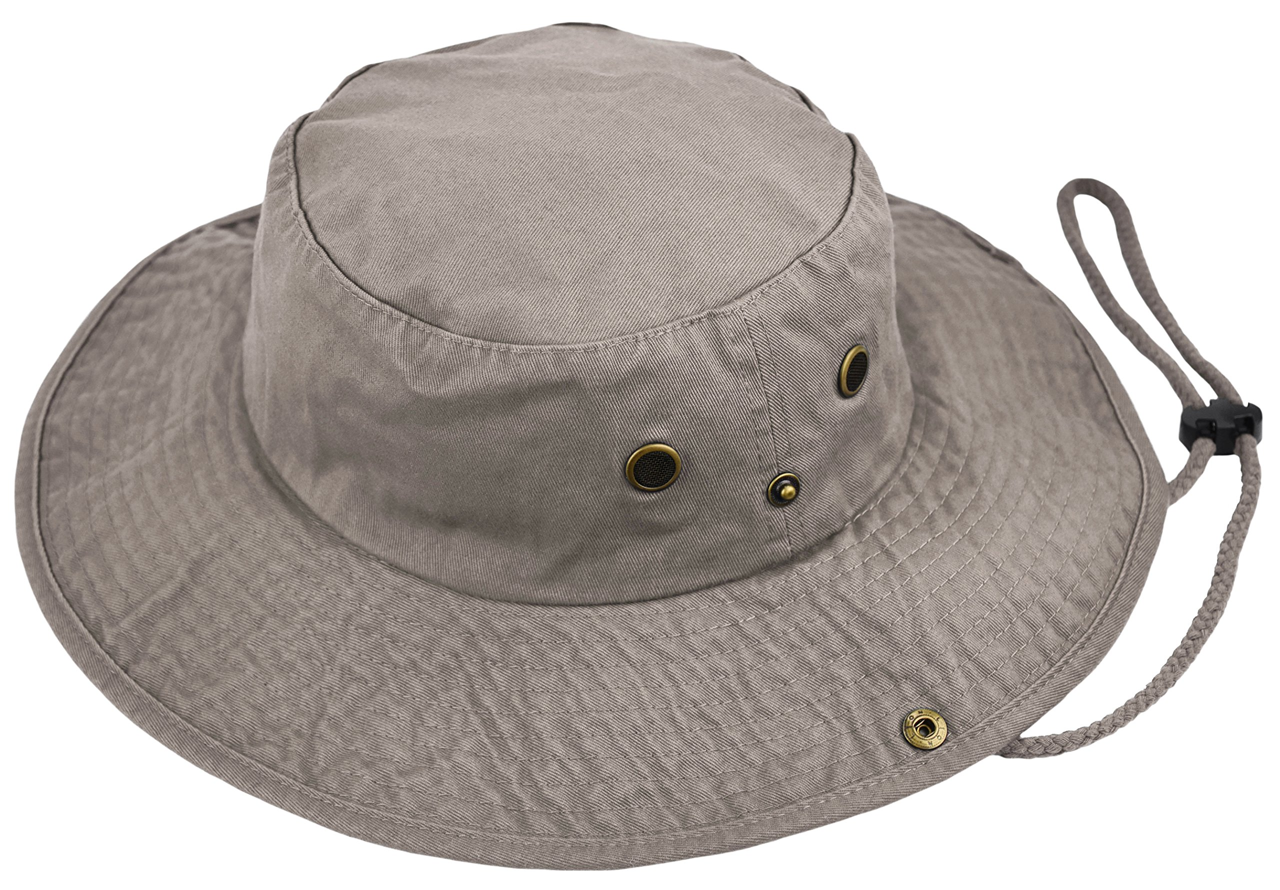 Deewang Summer Bucket Cap, Sun Hat With Adjustable CHINSTRAP, Outdoor Hunting Fishing Safari boonie Hat (Khaki, Large/X-Large)