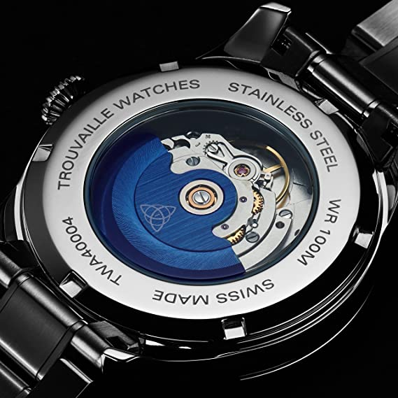 b88164a7f Amazon.com: Trouvaille Watches Classic Index Auto - Blue: Watches