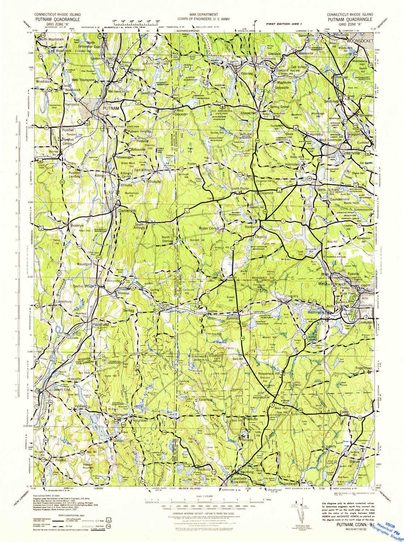 Topographic Map Rhode Island.Amazon Com Yellowmaps Putnam Ri Topo Map 1 125000 Scale 30 X 30