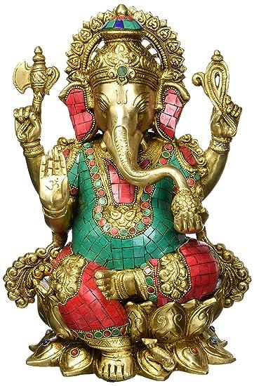 Sitzender Ganesha Indien Elefant Statue Messing Hindu Gott Ganesh Gottheit Figur