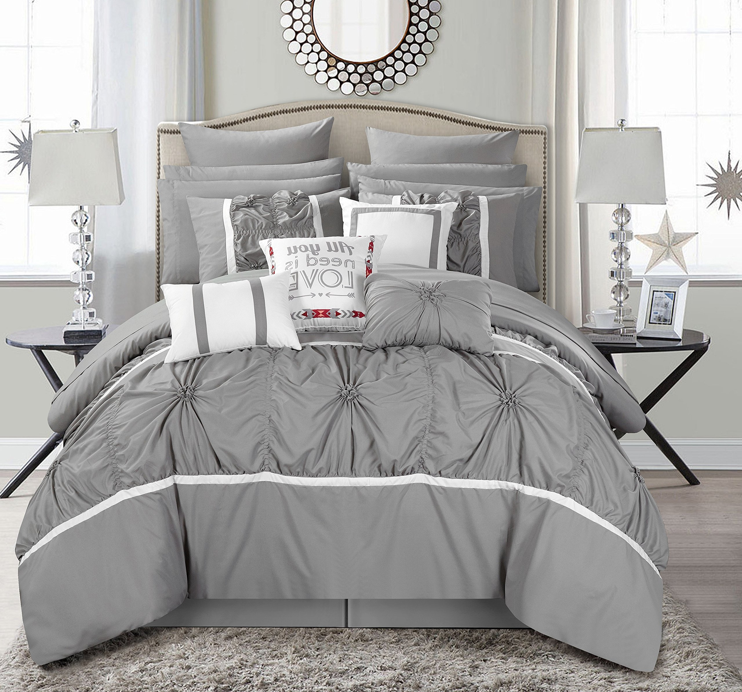 Chic Home CS2764-AN Ashville 16 Piece Bed in A Bag Comforter Set, Silver, Queen by Chic Home